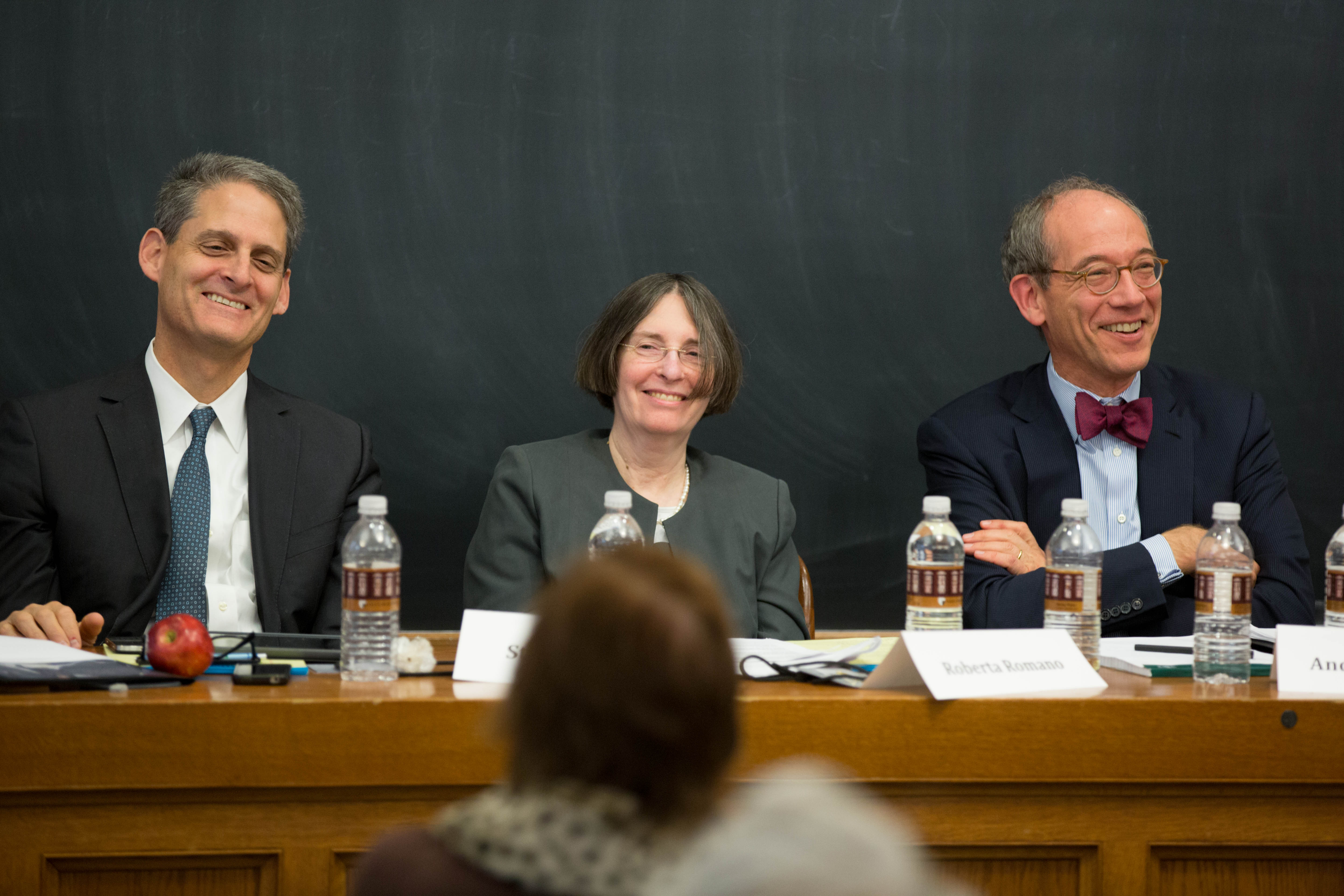 Stephen Cutler '85, YLS Prof. and Center Dir. Roberta Romano '80, and Andrew Levander