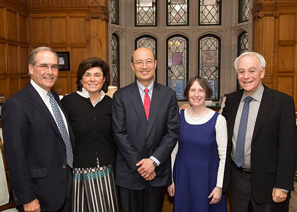 John Raben, Marianna Ponns Cohen, MIT Sloan Prof. Andrew W. Lo, YLS Prof. and Center Dir. Roberta Romano '80, and YLS Dean Robert Post '77