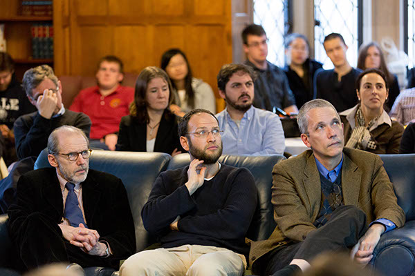 YLS Profs. Henry Hansmann '74, Yair Listokin '05, and Ian Ayres '86 (foreground)
