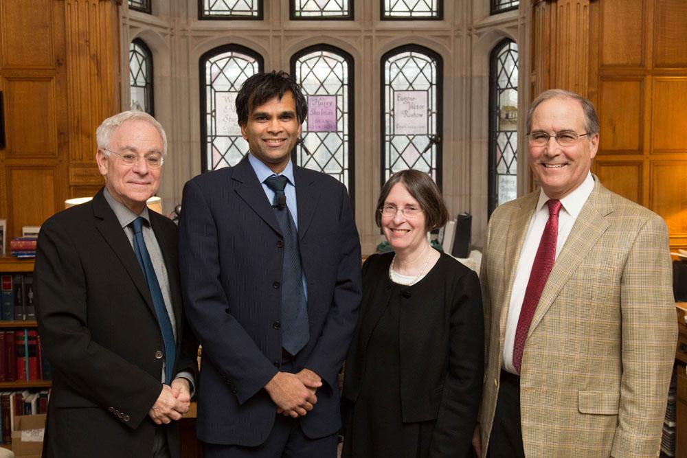 YLS Dean Robert Post '77, Harvard Econ. Prof. Sendhil Mullainathan, YLS Prof. and Center Director Roberta Romano '80, and John Raben