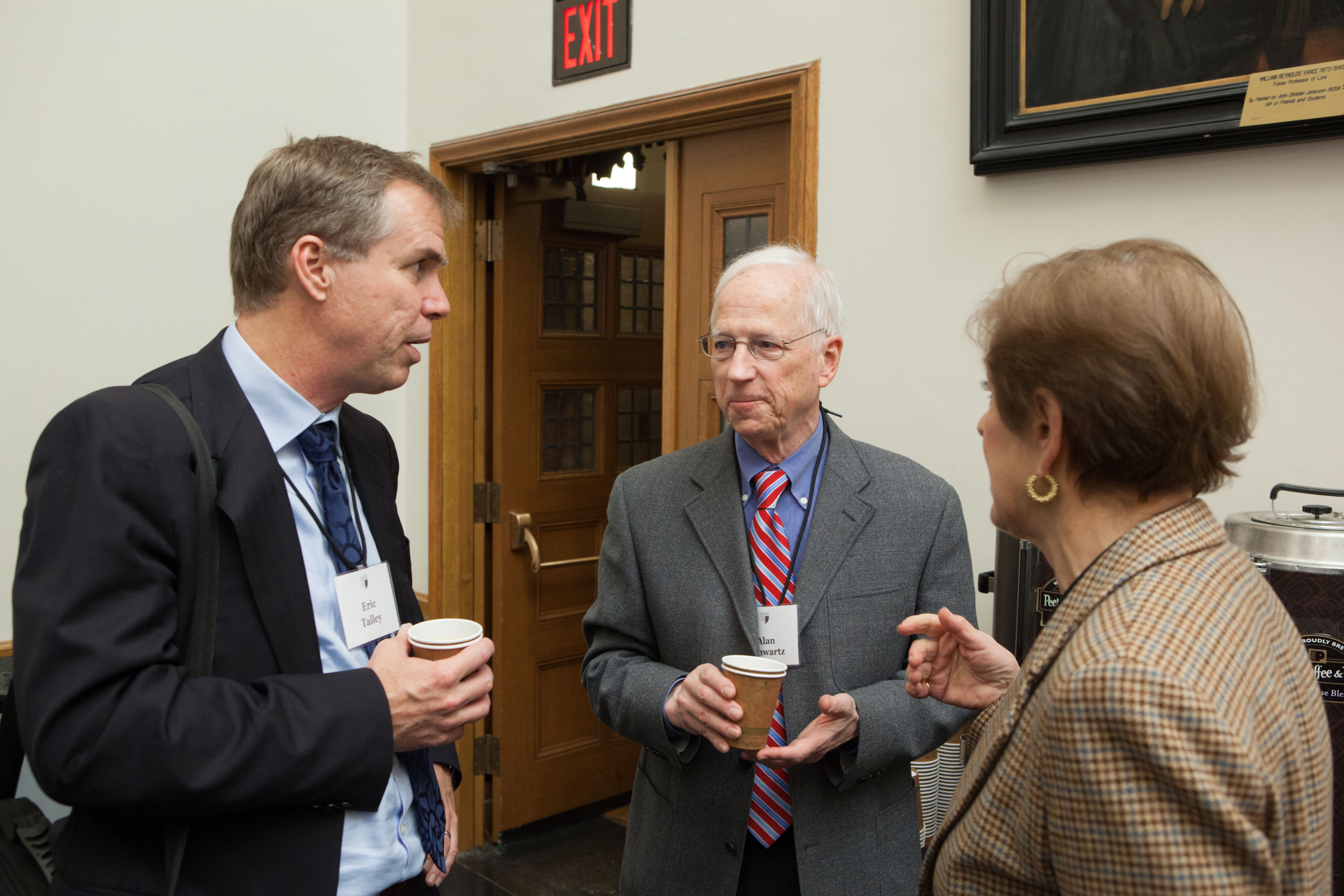 Berkeley Law Prof. Eric Talley, YLS Prof. Alan Schwartz '64, and Barbara Paul Robinson '65