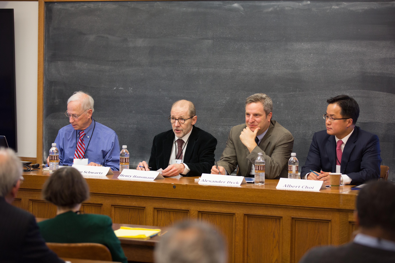 YLS Prof. Alan Schwartz '64, YLS Prof. Henry Hansmann '74, Toronto Mgmt. Prof. Alexander Dyck, and UVA Law Prof. Albert Choi '01