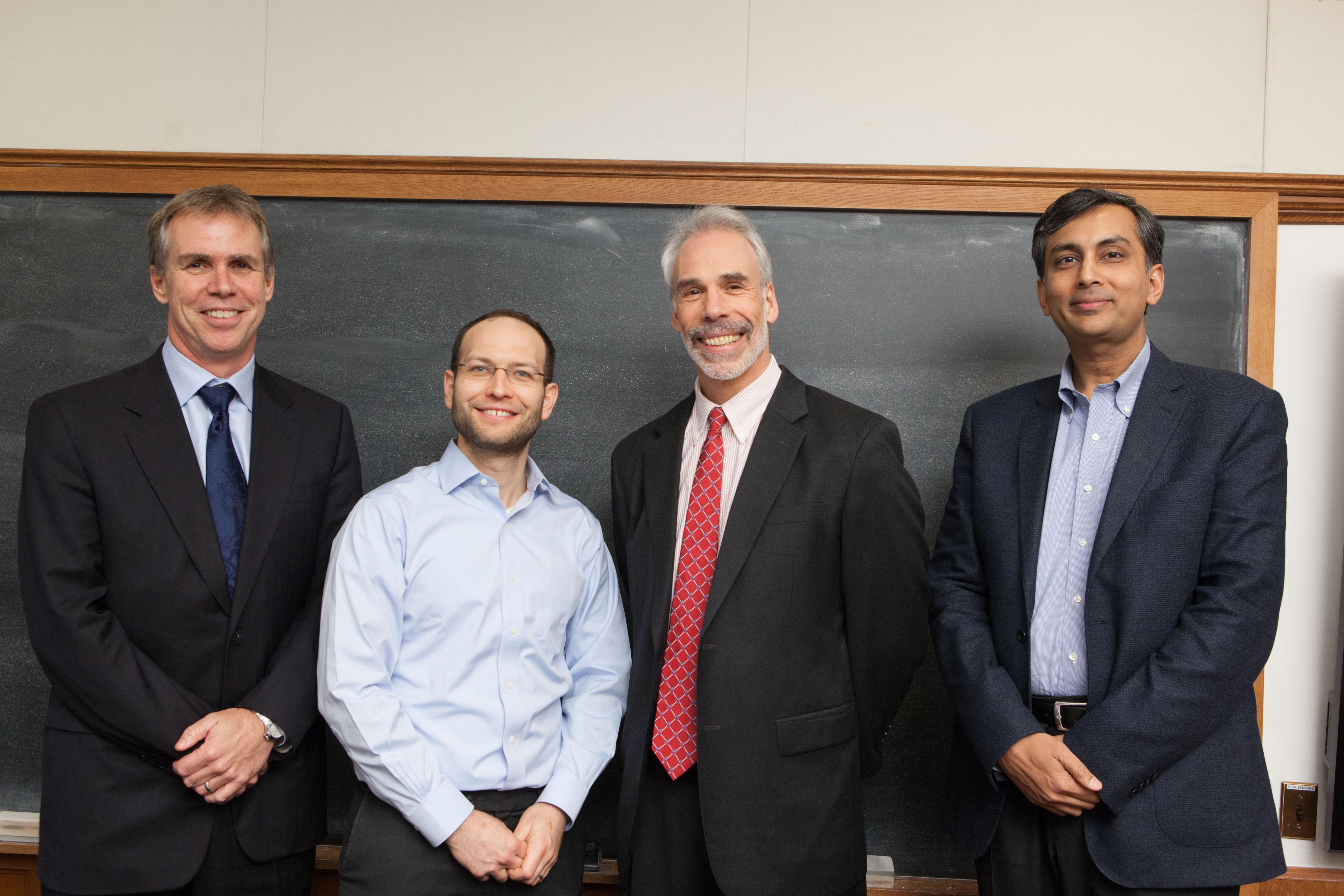 Berkeley Law Prof. Eric Talley, YLS Prof. Yair Listokin '06, Penn. Law Prof. Edward Rock, and Harvard Business Prof. Mihir Desai