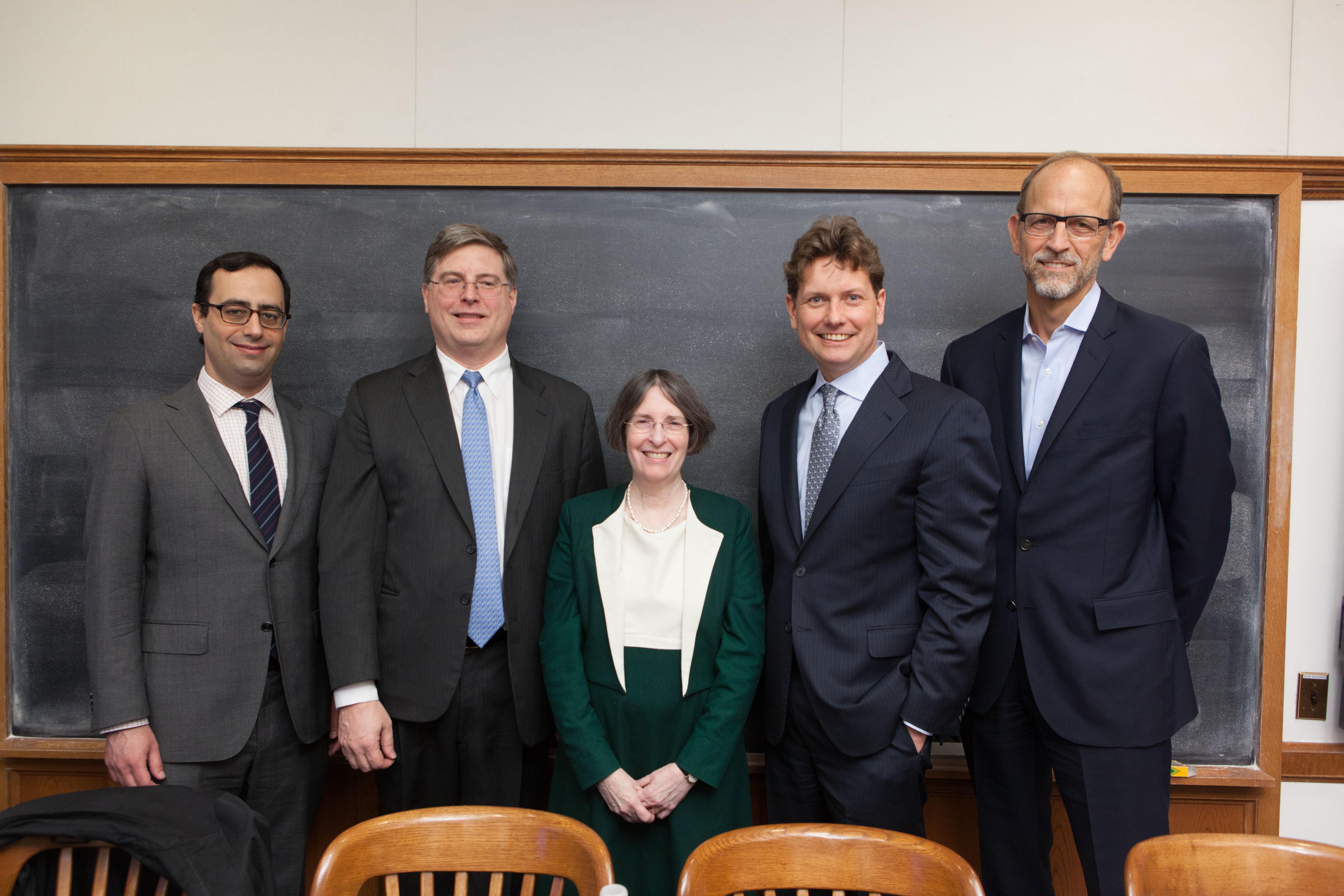 Matt Levine '04, Robert Cook, YLS Prof. and Center Dir. Roberta Romano '80, Columbia Business Prof. Charles Jones, and Edward Nicoll '97