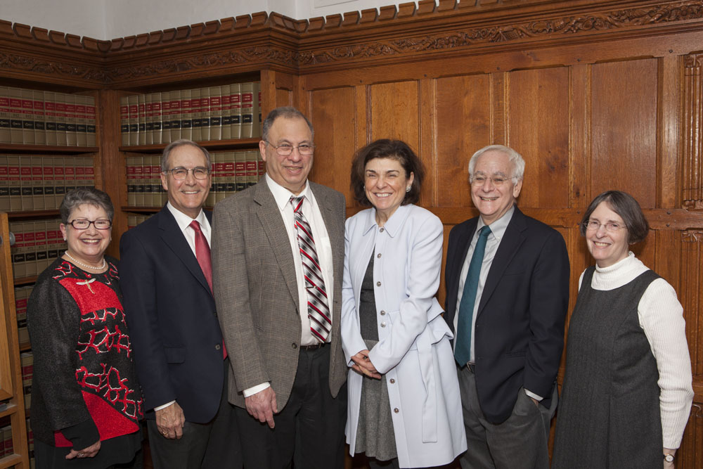 Carole Levin, John Raben, Princeton Ecology and Evolutionary Biology Prof. Simon Levin, Marianna Ayres, YLS Dean Robert Post '77, and YLS Prof. and Center Dir. Roberta Romano '80