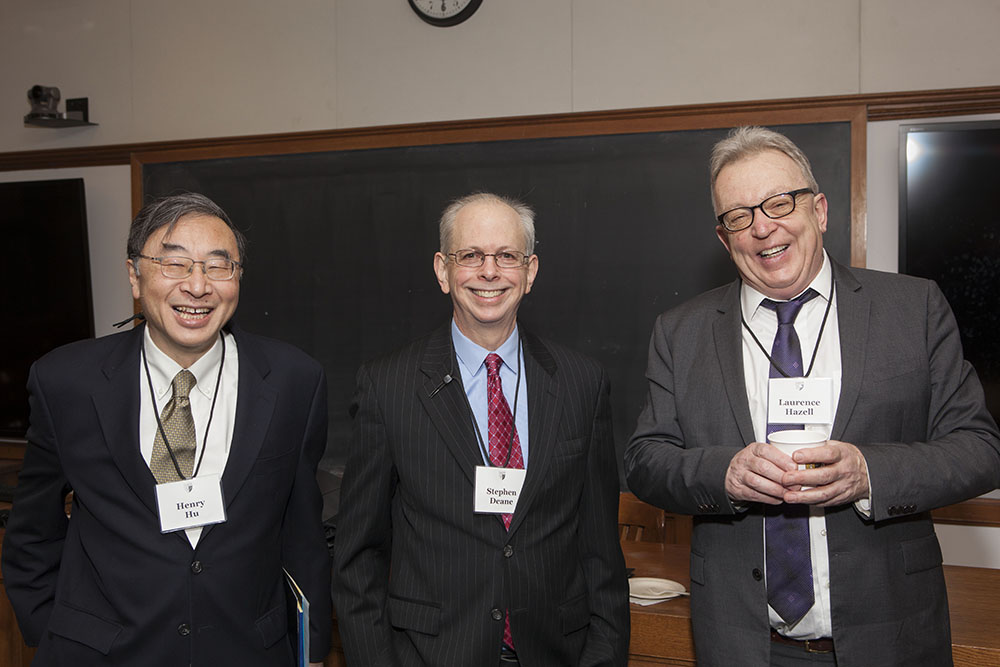 Texas Law Prof. Henry T.C. Hu '79, Stephen Deane, and Laurence Hazell