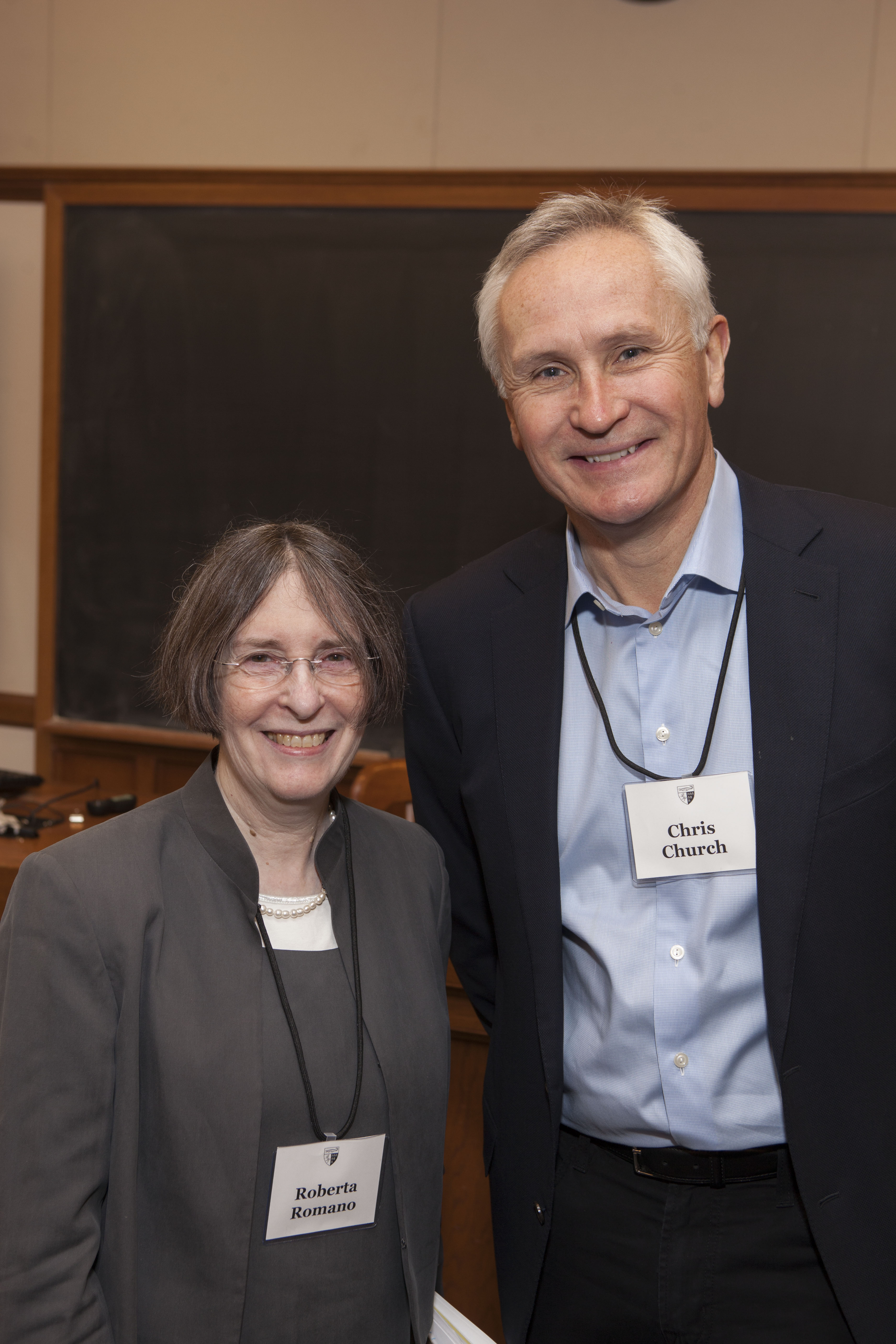 YLS Prof. and Center Dir. Roberta Romano '80 and Chris Church