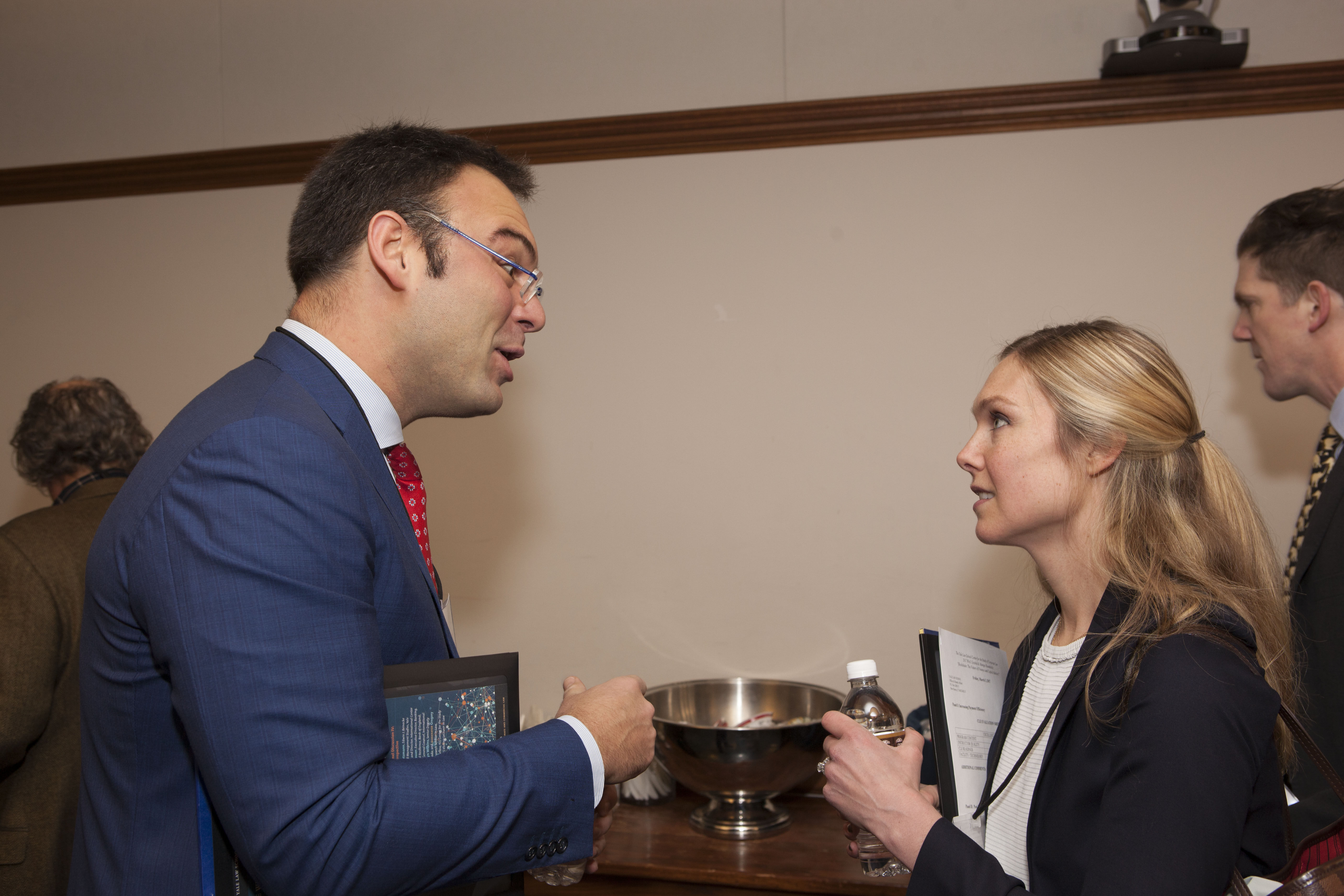 George Mason Law Prof. Paolo Saguato LLM '12 and Brooklyn Law Prof. Christina Parajon Skinner '10
