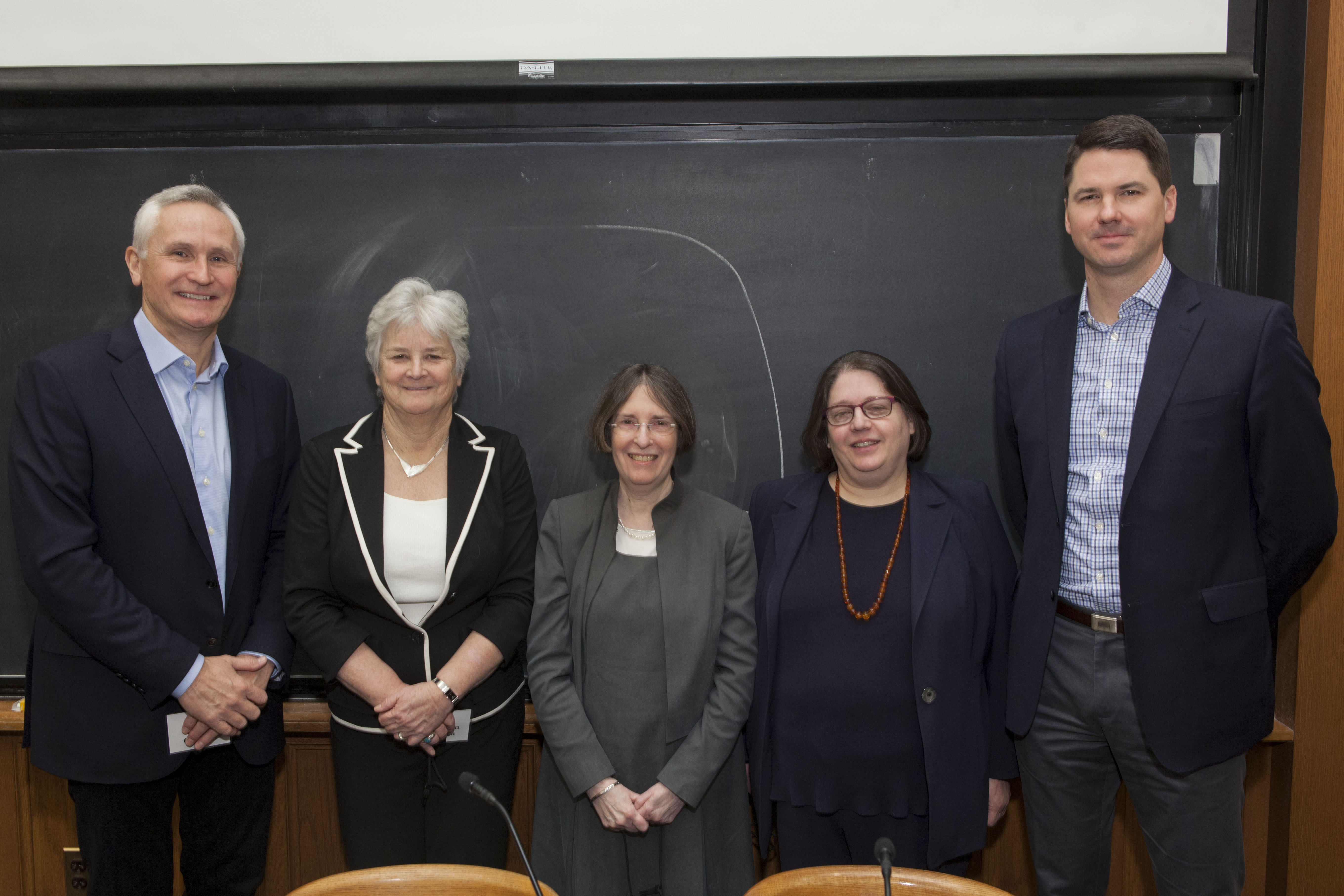 Chris Church, Cornell Mgmt. Prof. Maureen O'Hara, YLS Prof. and Center Dir. Roberta Romano '80, Rebecca Simmons, and Mark Wetjen