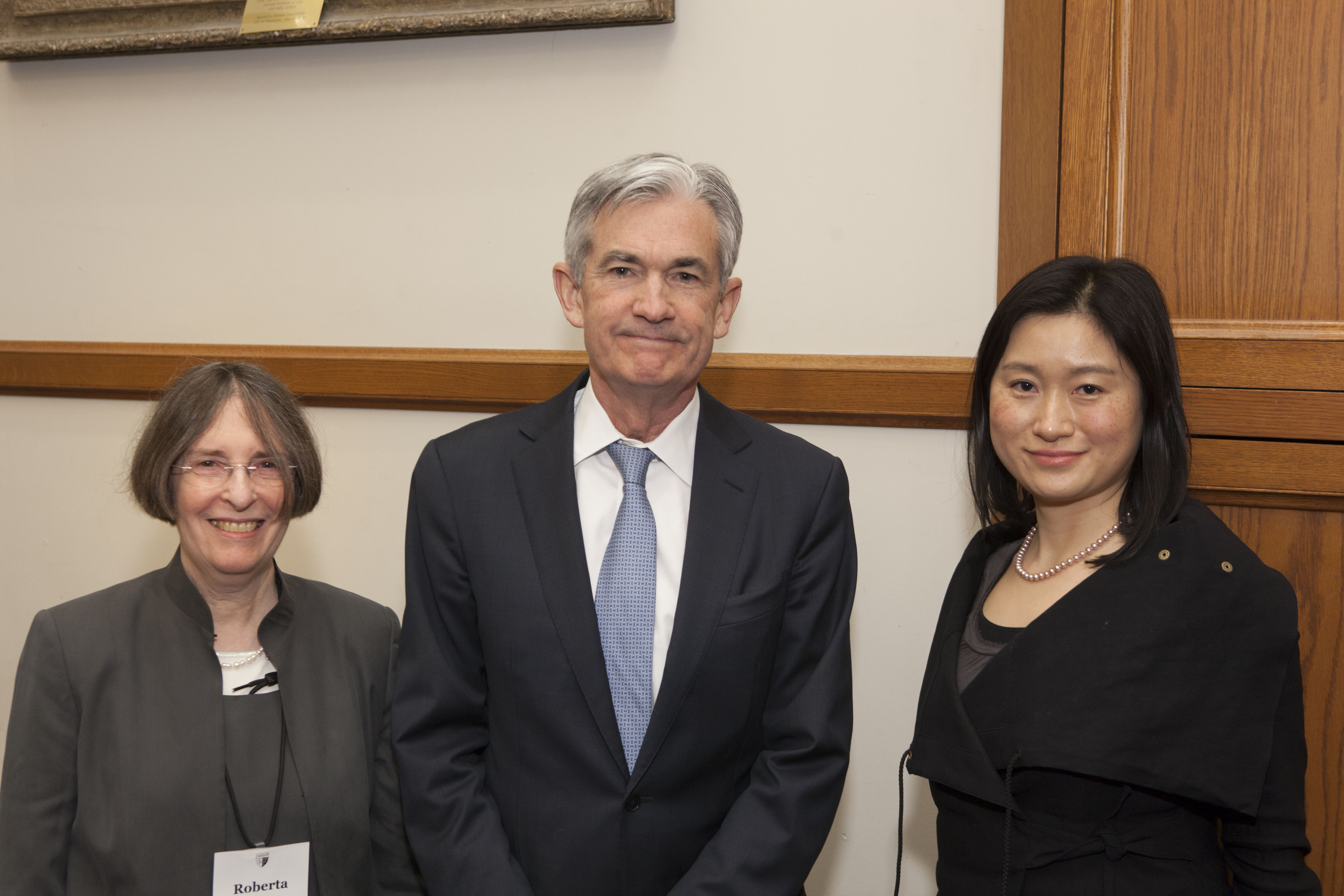 YLS Prof. and Center Dir. Roberta Romano '80, Fed. Res. Bd. Gov. Jerome H. Powell, and Center Exec. Dir. Nancy Liao '05