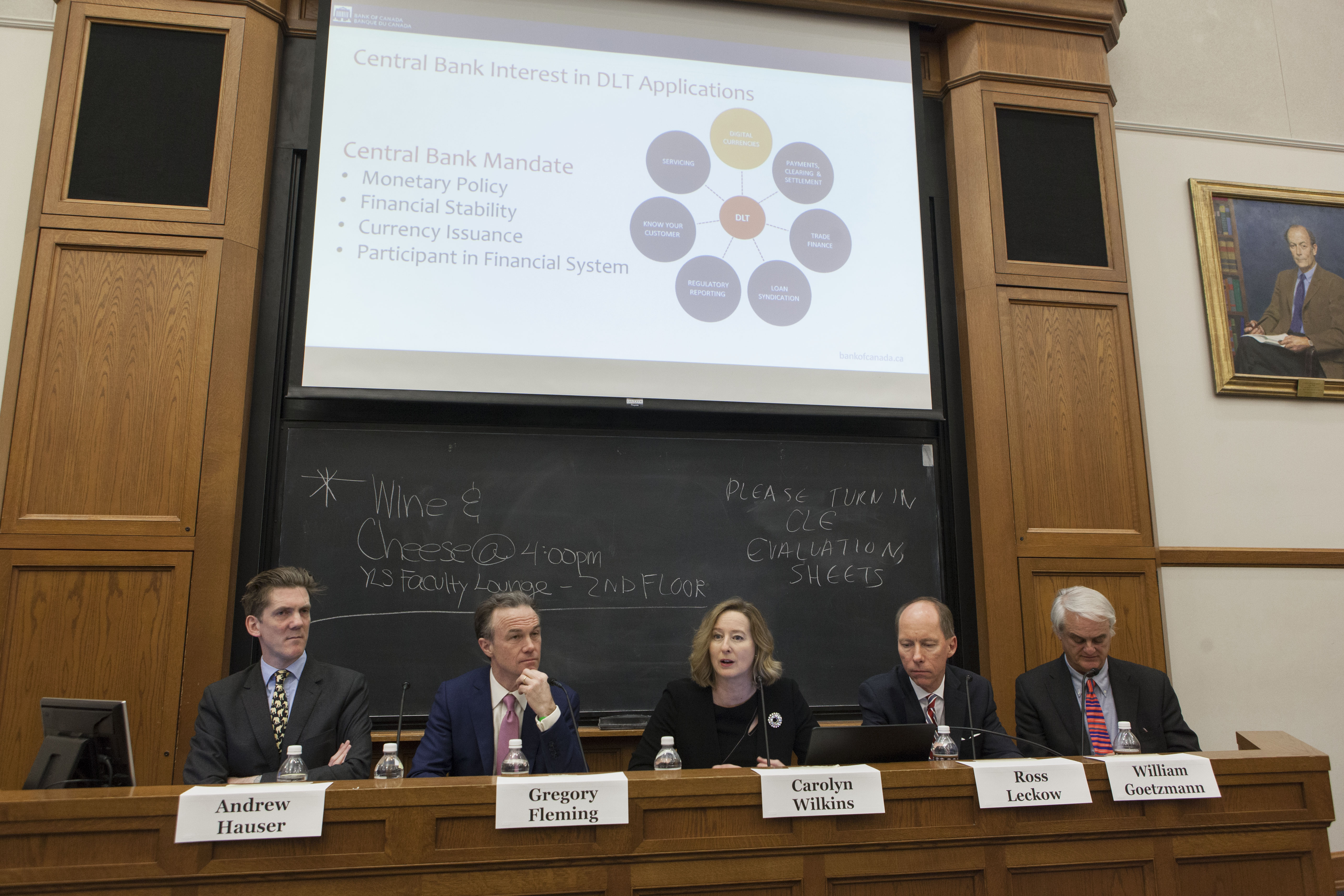 Bank of England Exec. Dir. Andrew Hauser, YLS Senior Research Scholar and Visiting Lecturer Gregory Fleming '88, Bank of Canada Senior Deputy Gov. Carolyn Wilkins, IMF Deputy General Counsel Ross Leckow, and Yale SOM Prof. William Goetzmann