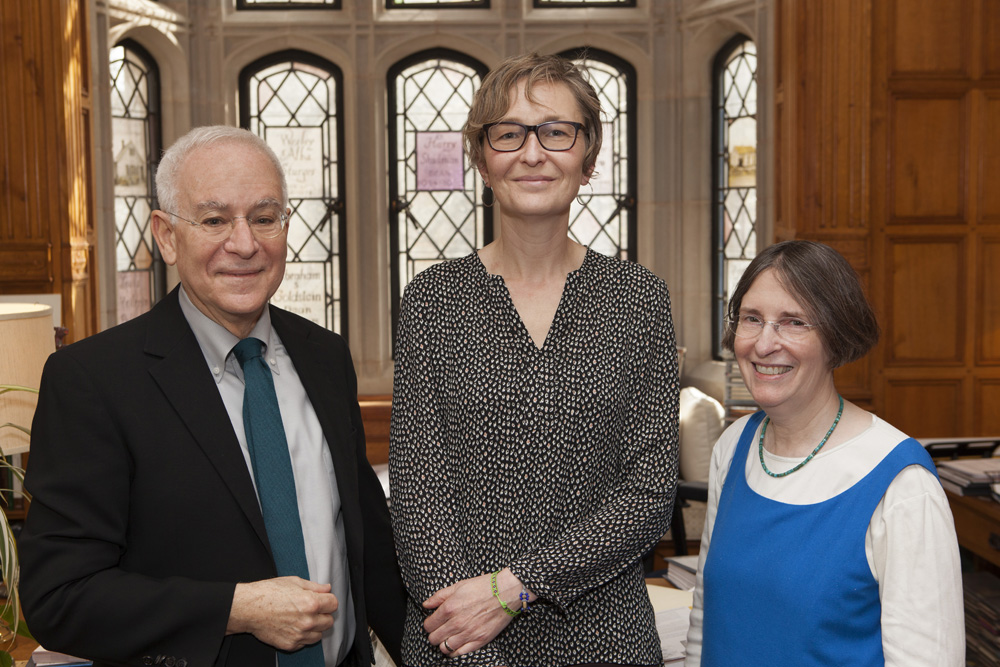 YLS Dean Robert Post '77, U. of Chicago Booth Prof. Marianne Bertrand, and YLS Prof. and Center Dir. Roberta Romano '80