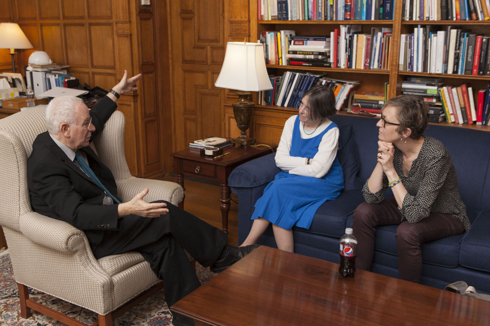 YLS Dean Robert Post '77, YLS Prof. and Center Dir. Roberta Romano '80, and U. of Chicago Booth Prof. Marianne Bertrand