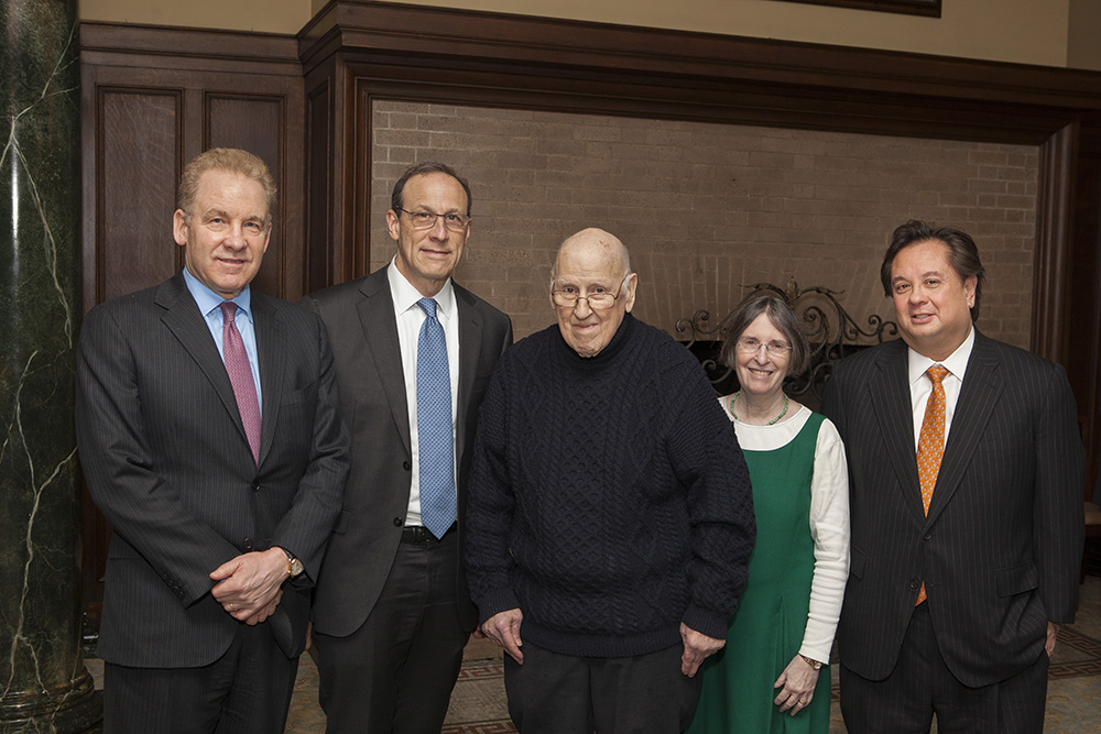 Robert J. Giuffra, Jr. '87, Harvard Bus. Prof. David S. Scharfstein, the Hon. Ralph K. Winter '60, YLS Prof. and Center Dir. Roberta Romano '80, and George T. Conway '87