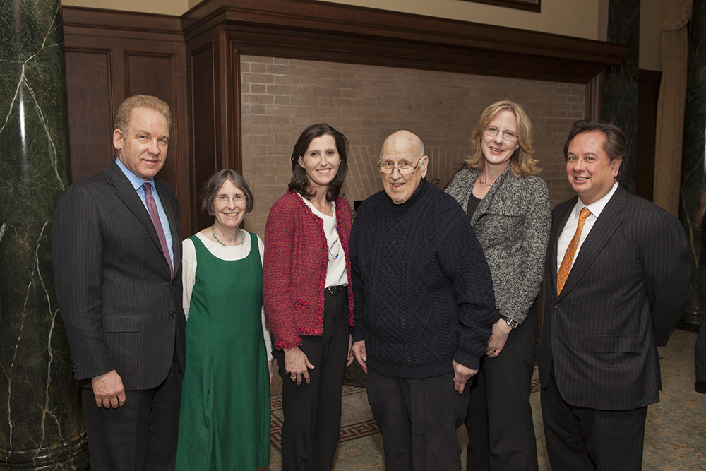 Robert J. Giuffra, Jr. '87, YLS Prof. and Center Dir. Roberta Romano '80, YLS Prof. Abbe Gluck '00, the Hon. Ralph K. Winter '60, YLS Dean Heather Gerken, and George T. Conway '87