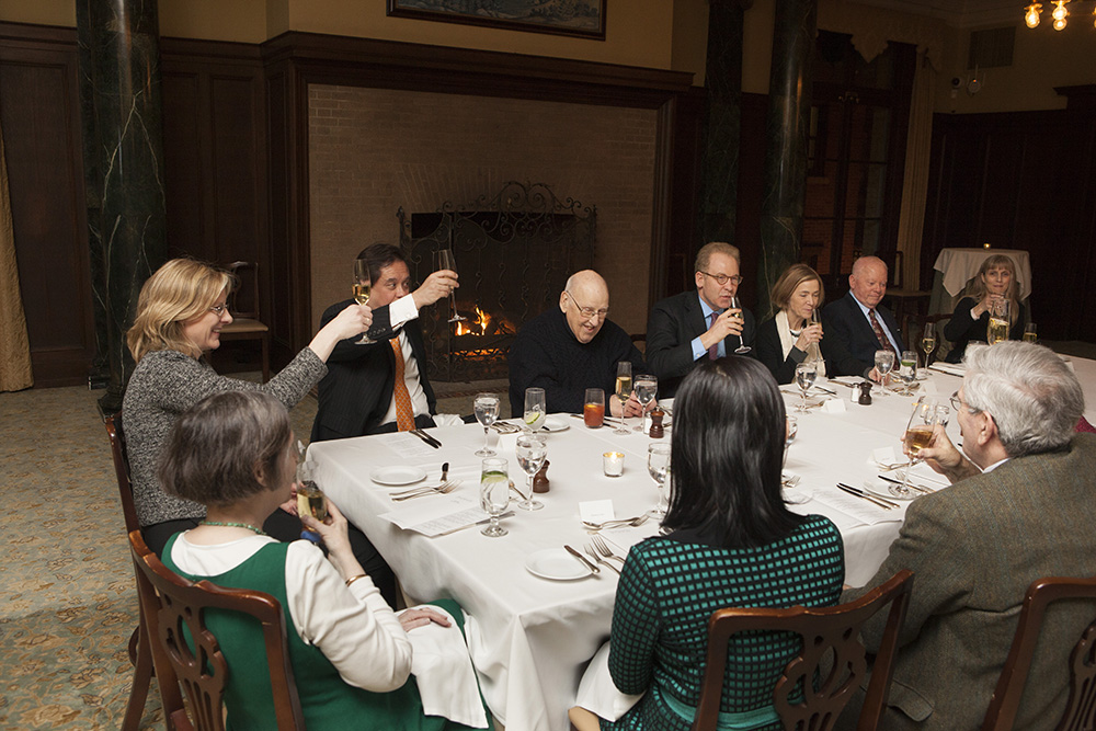 YLS Dean Heather Gerken (left) leading a toast to the Hon. Ralph K. Winter '60