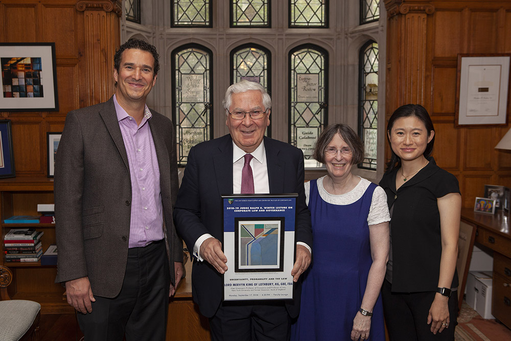 YLS Deputy Dean Douglas Kysar, NYU Stern Econ. Prof. Lord Mervyn King, YLS Prof. and Center Dir. Roberta Romano '80, and Center Exec. Dir. Nancy Liao '05