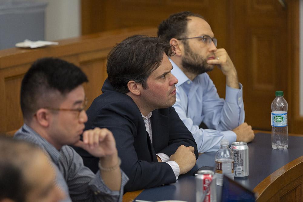 YLS Profs. David Schleicher '04 (center) and Yair Listokin '05 (right)