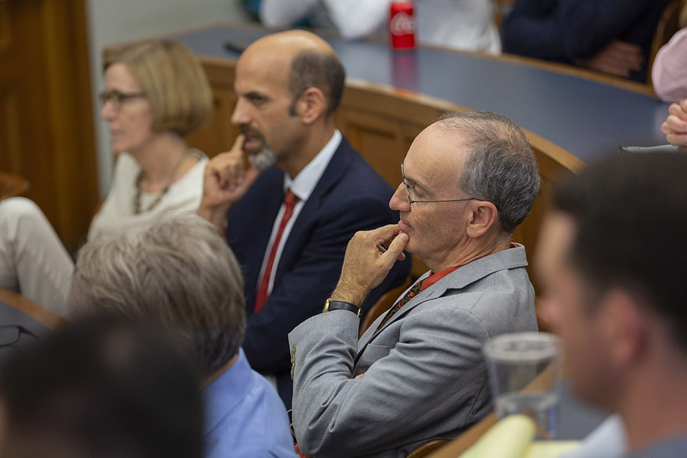 Yale University Provost and Yale Econ. and SOM Prof. Benjamin Polak (foreground), and YLS Profs. Kate Stith (left) and Daniel Markovits '00 (center)