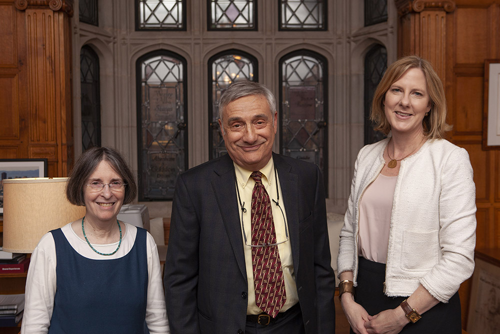 YLS Prof. and Center Dir. Roberta Romano '80, Northwestern Prof. of Arts and Sciences Joel Mokyr, and YLS Dean Heather Gerken