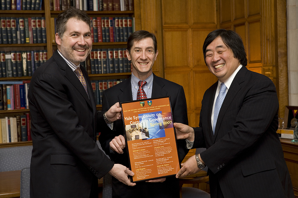 Yale SOM Dean Joel Podolny, Michael Eisenson J.D. and MPPM '81, and YLS Dean Harold Hongju Koh