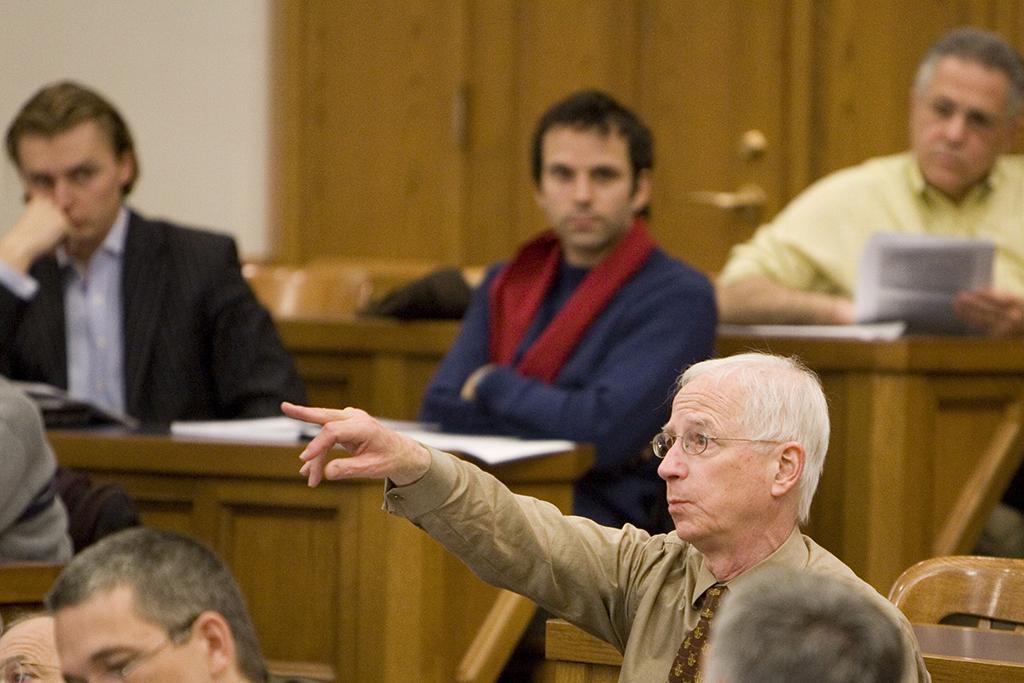 YLS Prof. Alan Schwartz '64 asking a question