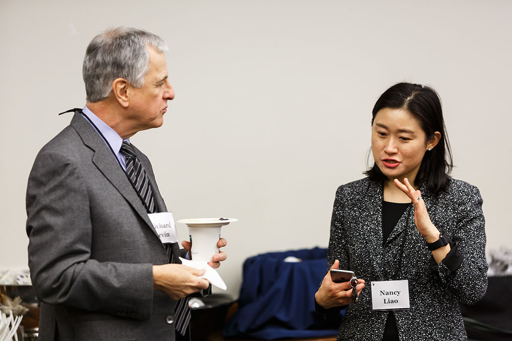 Richard Levin '75 and Center Exec. Dir. Nancy Liao '05
