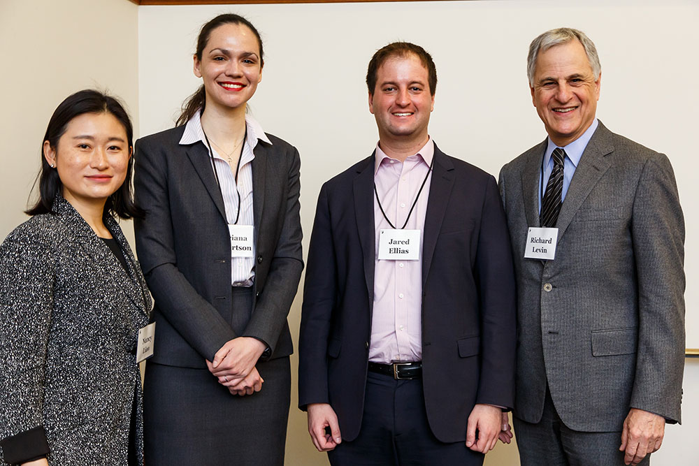 Center Exec. Dir. Nancy Liao '05, U. of Toronto Faculty of Law Prof. Adriana Robertson '15, U. of California at Hastings Prof. Jared A. Ellias, and Richard Levin '75