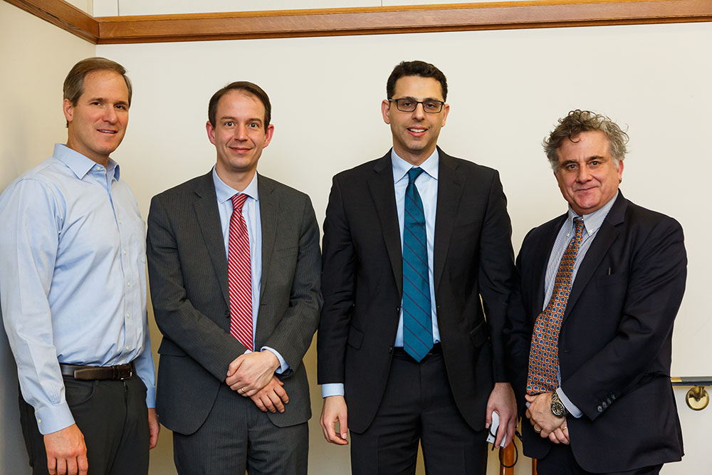 Stanford Law Prof. Robert Daines '92, U. of Notre Dame Finance Prof. Martijn Cremers, Duke Law Prof. Ofer Eldar JSD '14, and YLS Prof. Jonathan Macey '82