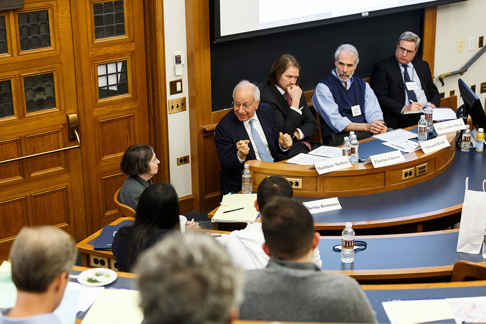 YLS Prof. and Center Dir. Roberta Romano '80, Matthew Mallow, Yale SOM Prof. Florian Ederer, NYU Law Prof. Edward Rock, and U. of Toronto Rotman Prof. Alexander Dyck