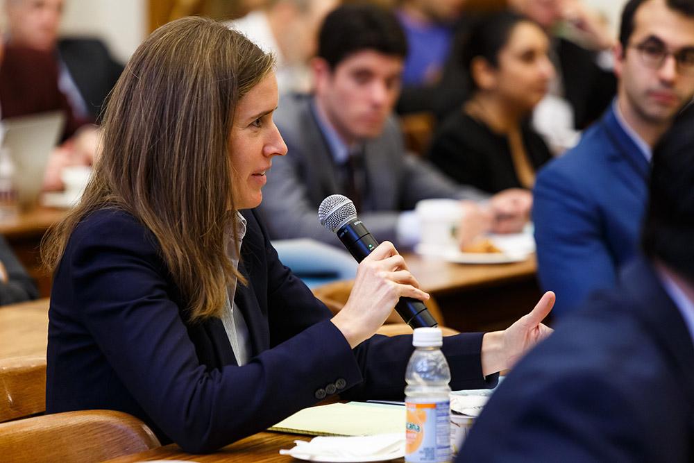 Duke Law Prof. Elisabeth de Fontenay asking a question