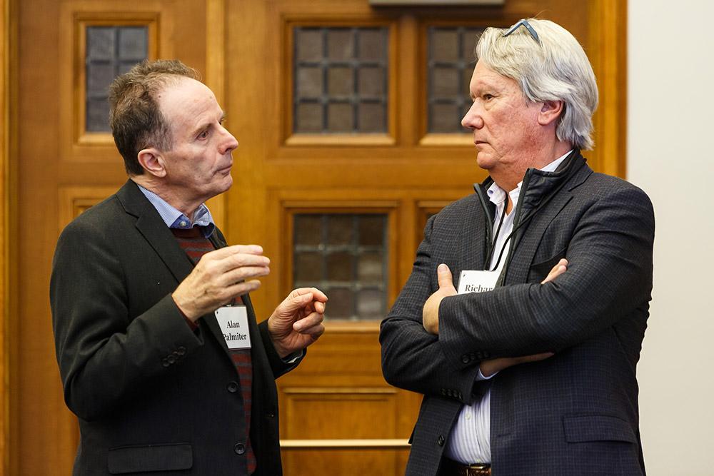 Wake Forest Law Prof. Alan Palmiter and Villanova Law Prof. Richard Booth '76 conversing