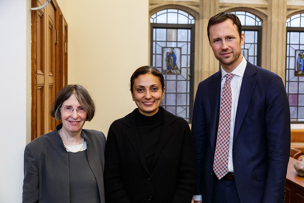 YLS Prof. and Center Dir. Roberta Romano '80, SEC Div. of Investment Mgmt. Dir. Dalia Blass, and YLS Prof. John Morley '06