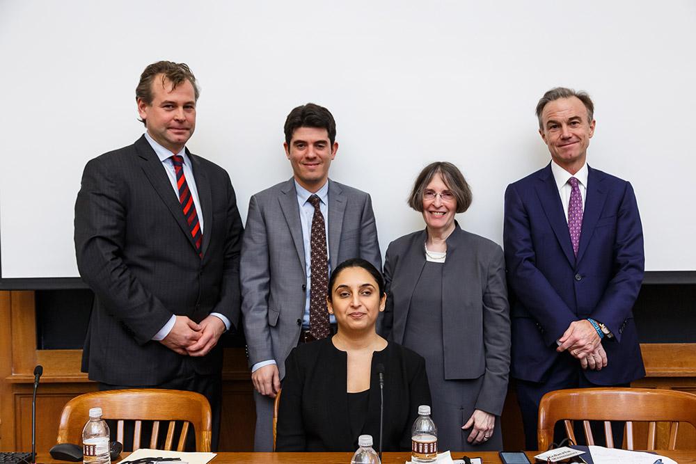 U. of Luxembourg Law Prof. Dirk Zetzsche, Aron Szapiro, Jasmin Sethi (sitting), YLS Prof. and Center Dir. Roberta Romano '80, and Gregory Fleming '88