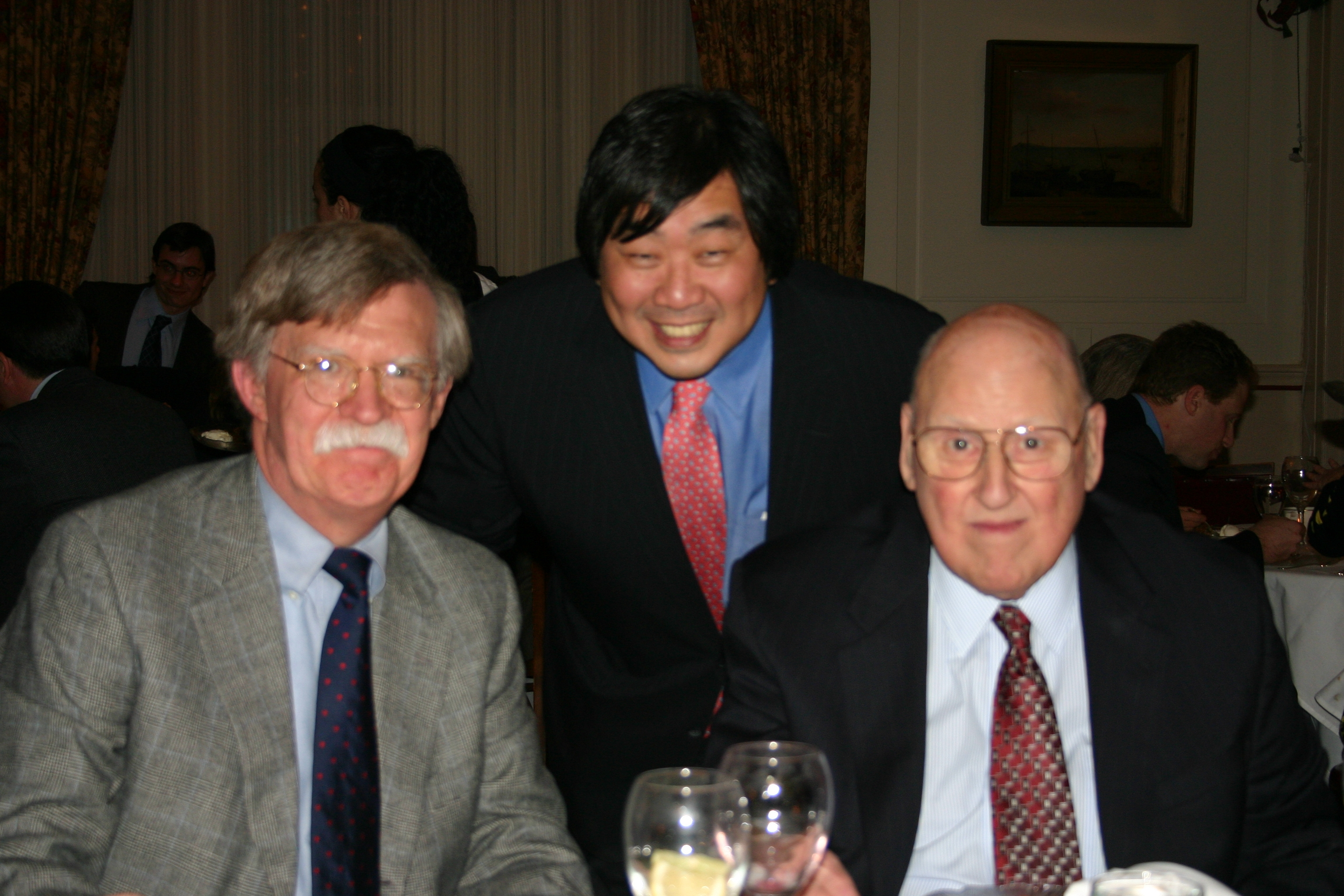 Ambassador John Bolton '74, YLS Dean Harold Koh, and the Hon. Ralph Winter '60