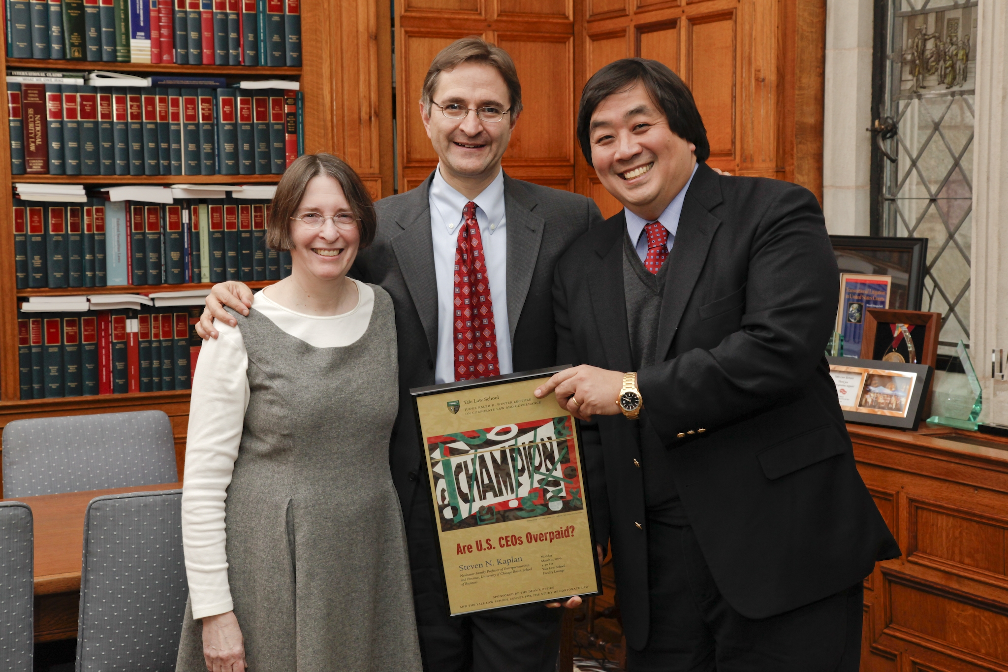 YLS Prof. and Center Dir. Roberta Romano '80, U. of Chicago Booth Prof. Steven N. Kaplan, and YLS Dean Harold Koh