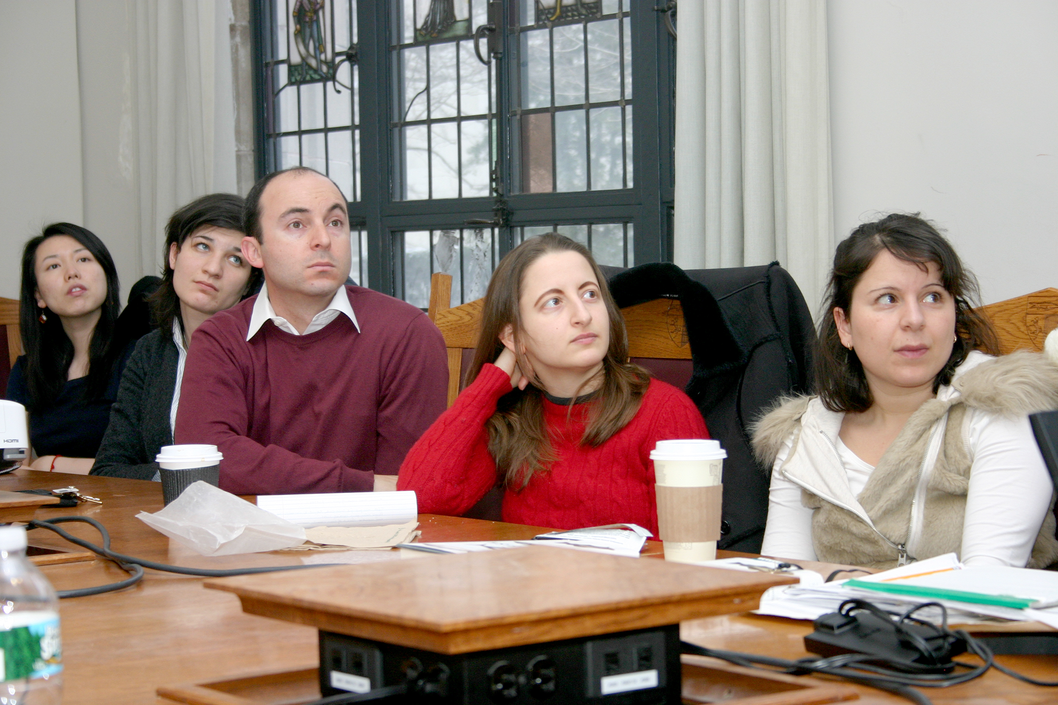 Lang Liu '11, Agnieszka Rafalska '12, YLS Lecturer Noah Messing '00, Laura Cole '12, and Einat Solnik LLM '11