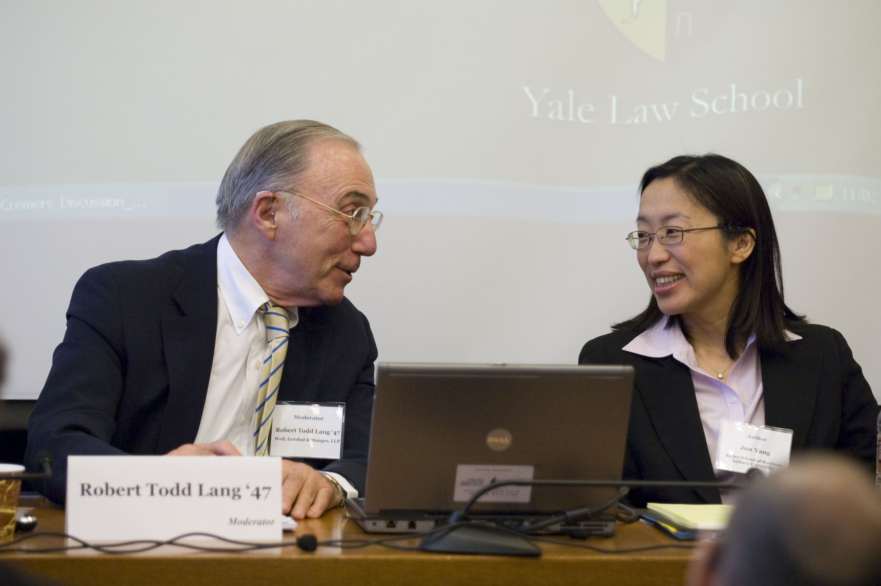 Robert Todd Lang '47 and Indiana Kelley School of Business Prof. Jun Yang