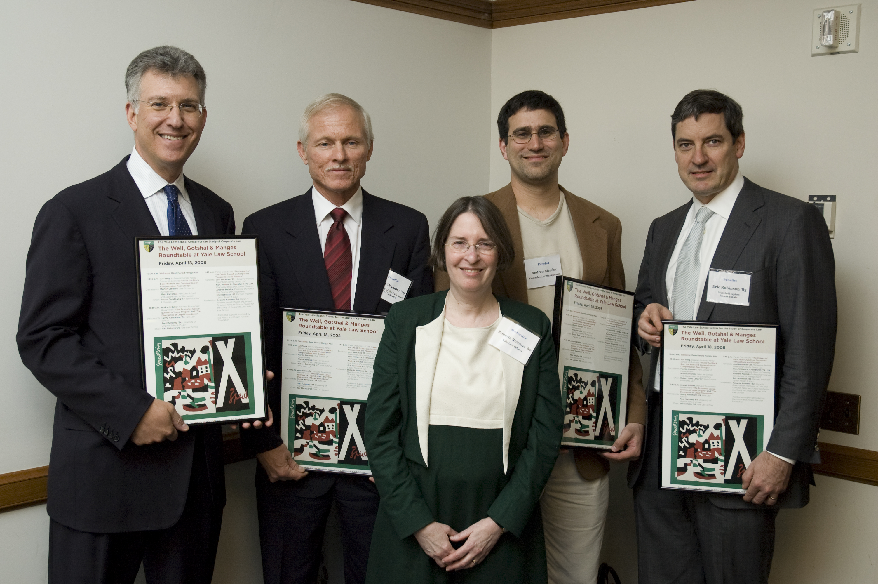 Joel Beckman '79, Hon. William Chandler LLM '79, YLS Prof. and Center Dir. Roberta Romano '80, Yale SOM Prof. Andrew Metrick, and Eric Robinson '83