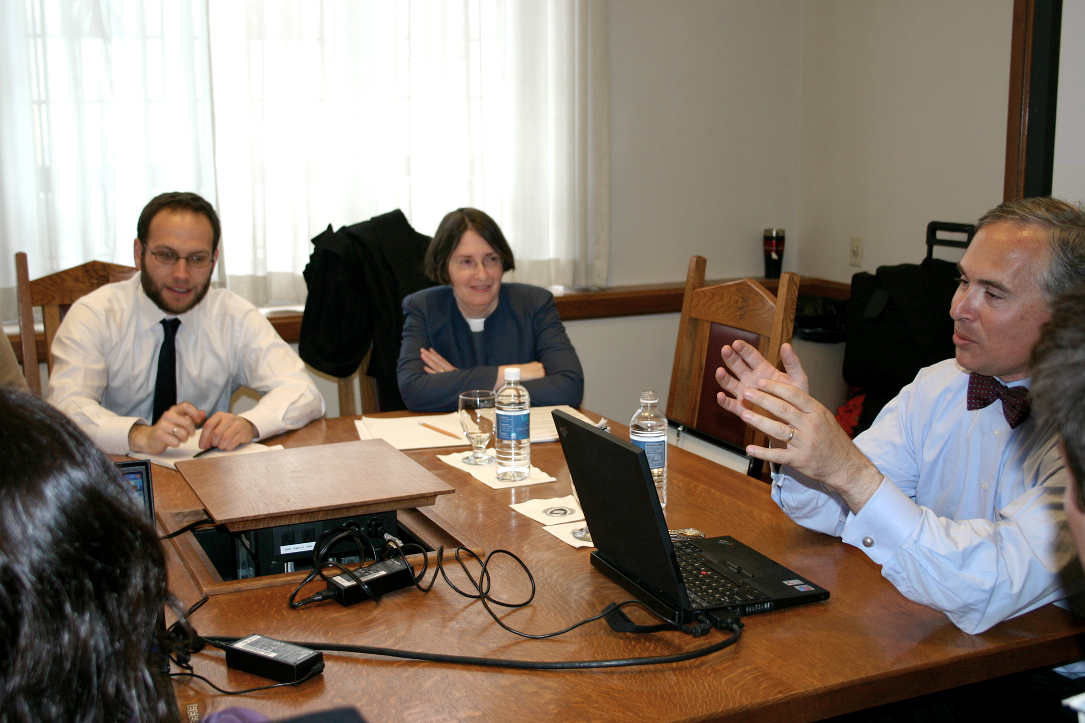 YLS Prof. Yair Listokin '05, YLS Prof. and Center Dir. Roberta Romano '80, and Boris Feldman '80