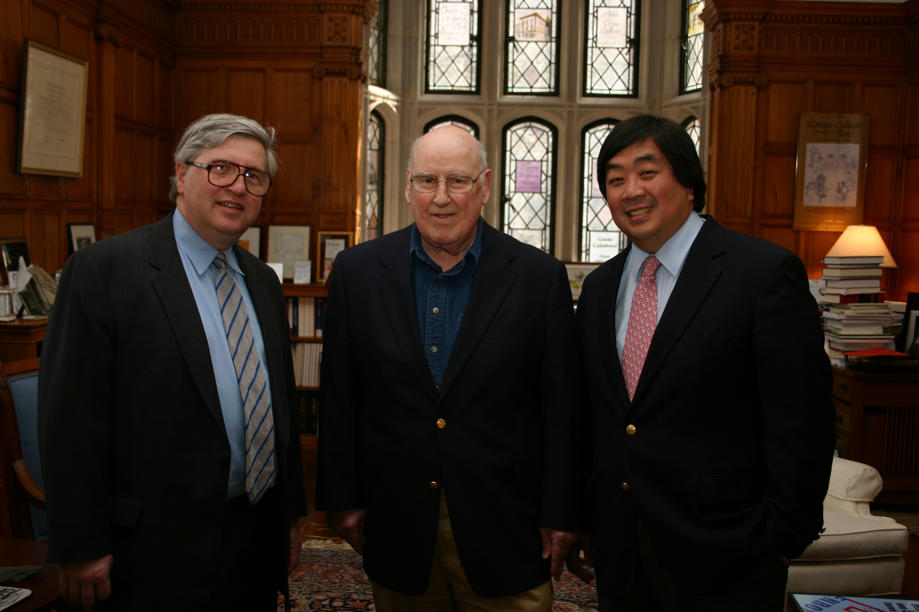 Northwestern Law Prof. Daniel Fischel, Judge Ralph Winter '60, and YLS Dean Harold Koh