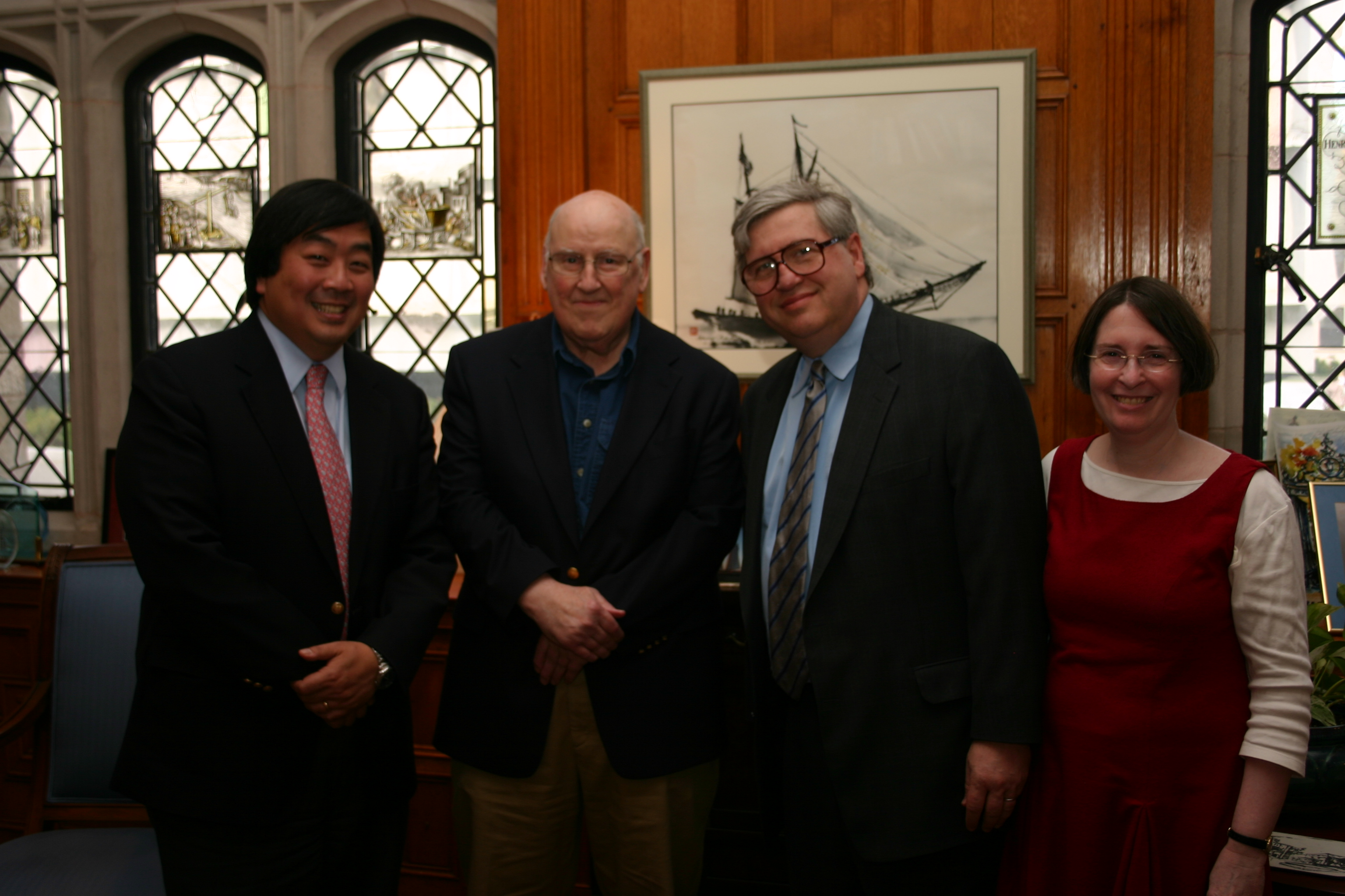 YLS Dean Harold Koh, Judge Ralph Winter '60, Northwestern Law Prof. Daniel Fischel, and YLS Prof. and Center Director Roberta Romano '80