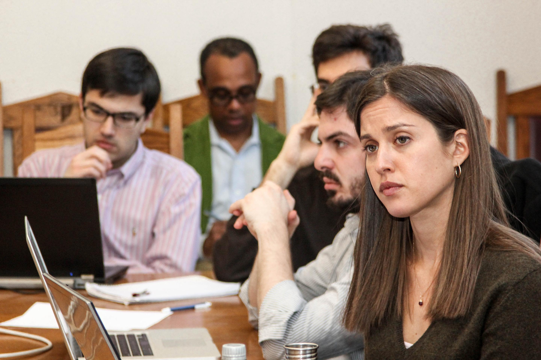 Alidad Damooei '13, YLS Prof. Richard Brooks (back), Daniel Simon '14, and Jackie Carter '12
