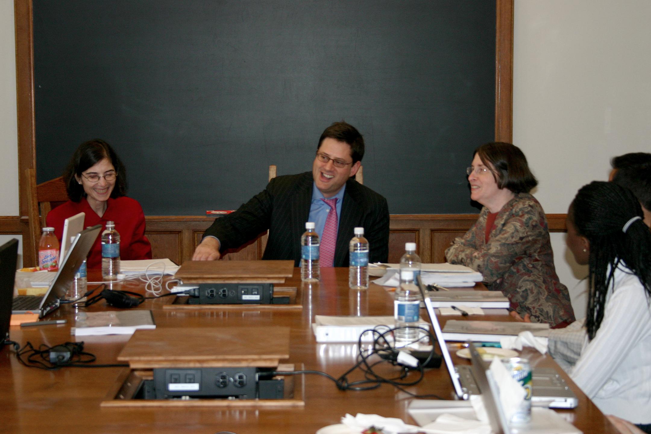 Rosa Testani '88, Stewart Kagan '85, and colloquium class