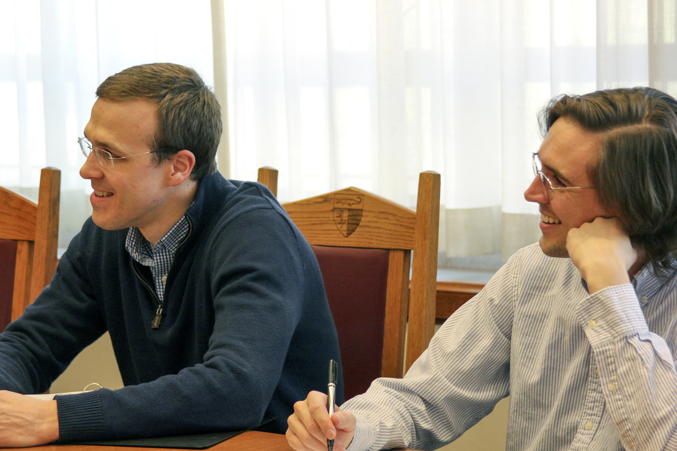 Center Exec. Dir. William Clayton '11 and Will Rush '15