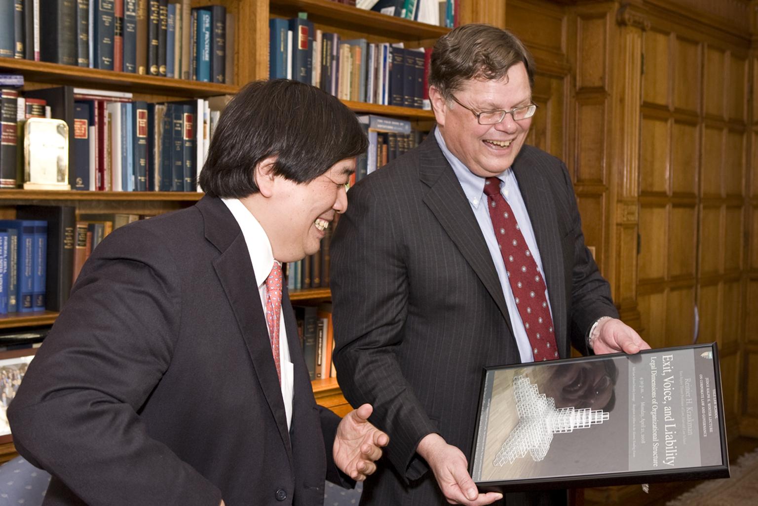 YLS Dean Harold Koh and Harvard Law Prof. Reinier Kraakman '79