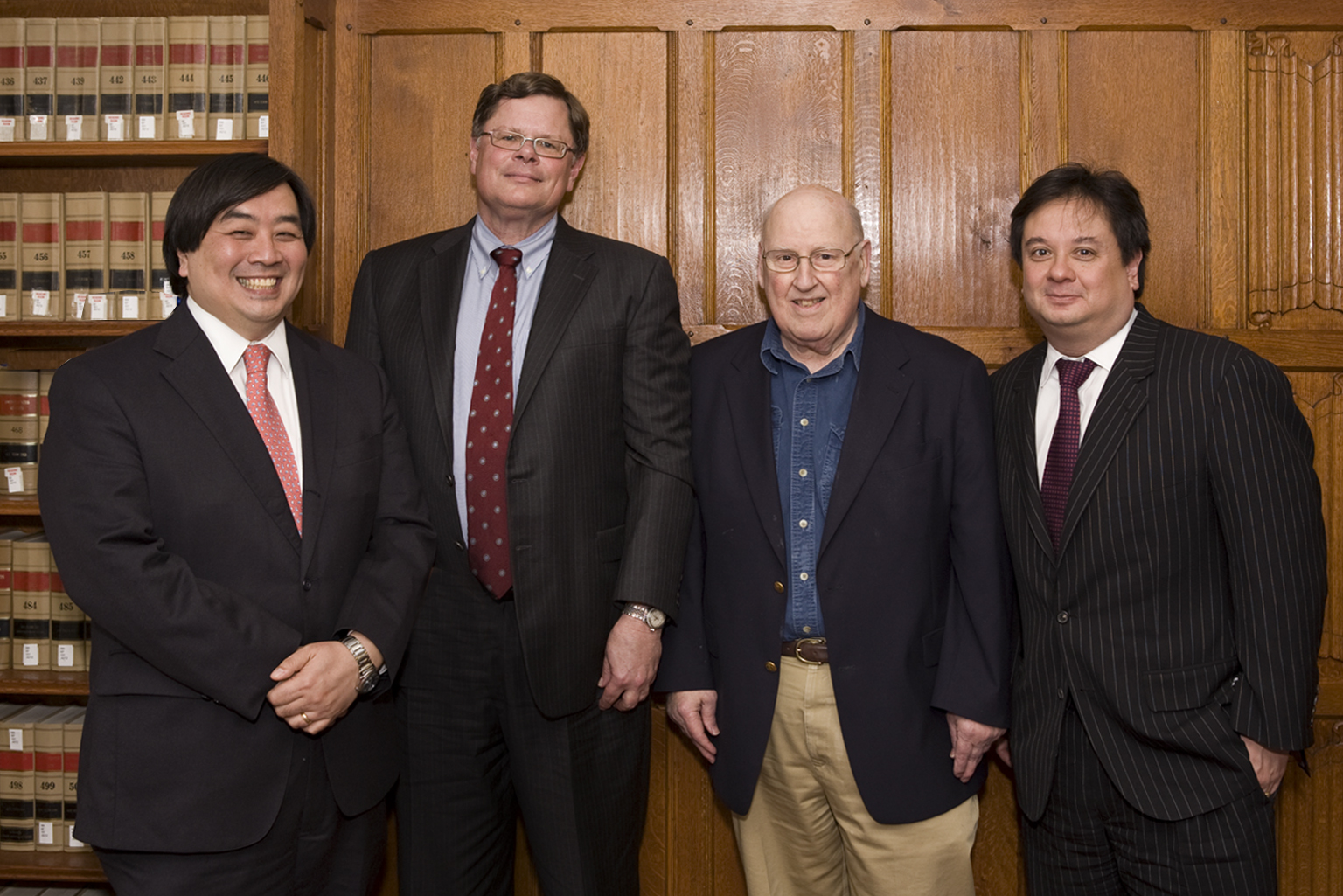 YLS Dean Harold Koh, Harvard Law Prof. Reinier Kraakman '79, Judge Ralph Winter '60, and George Conway '87
