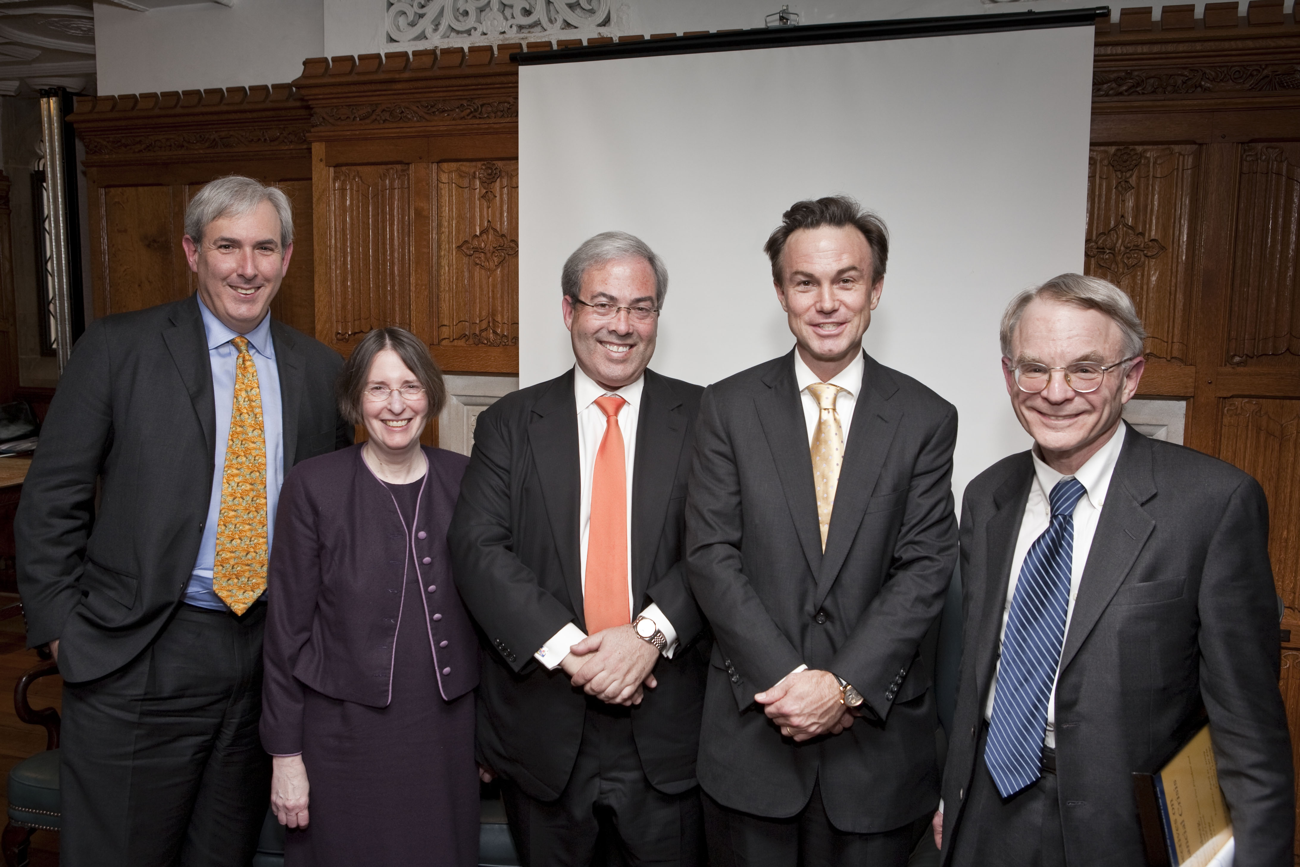 Lawrence S. Makow, YLS Prof. and Center Dir. Roberta Romano '80, Jonathan N. Eisenberg, Gregory J. Fleming '88, and H. Rodgin Cohen