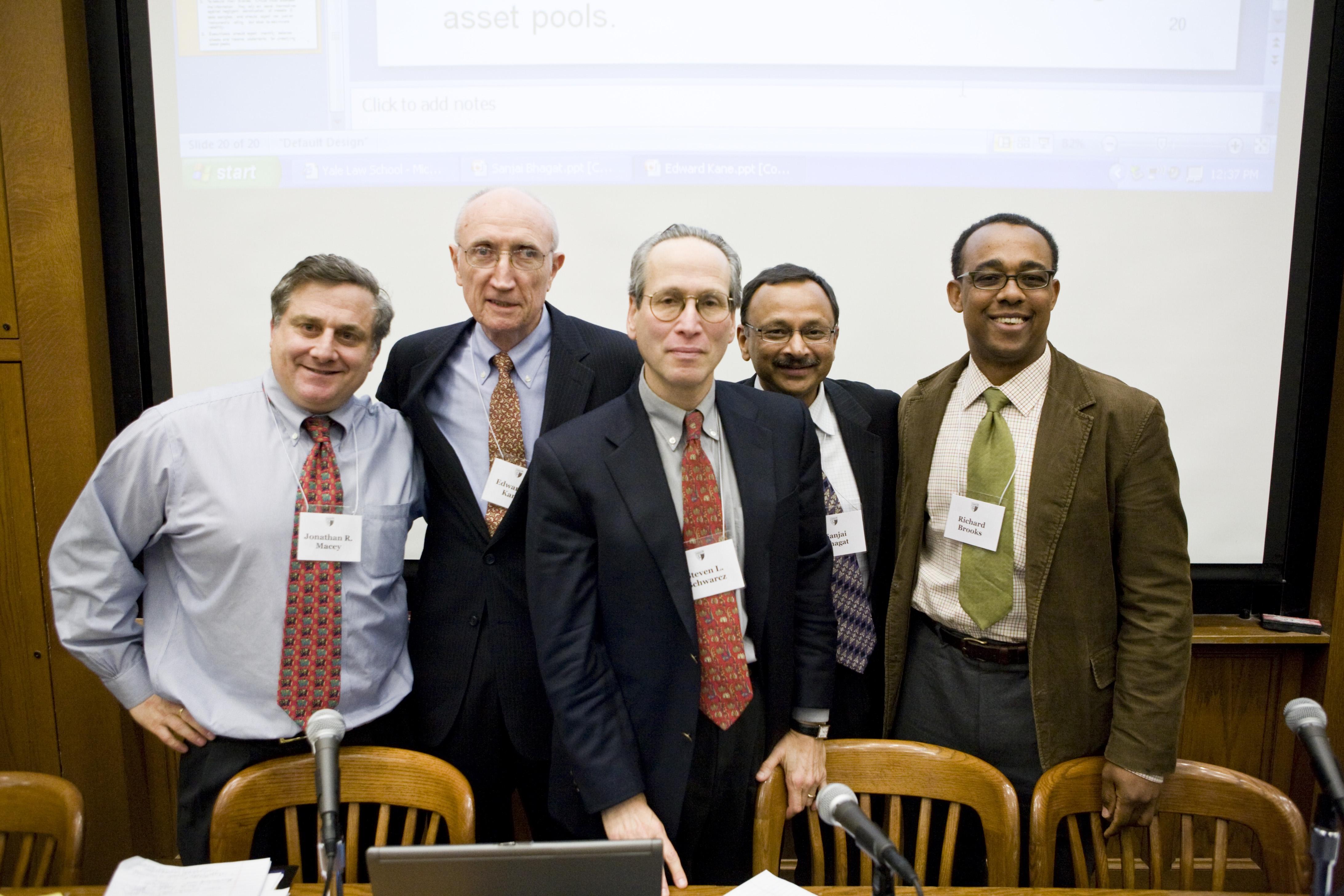 YLS Prof. Jonathan Macey '82, Boston College Fin. Prof. Edward Kane, Duke Law Prof. Steven Schwarcz, U. of Colorado Bus. Prof. Sanjai Bhagat, and YLS Prof. Richard Brooks