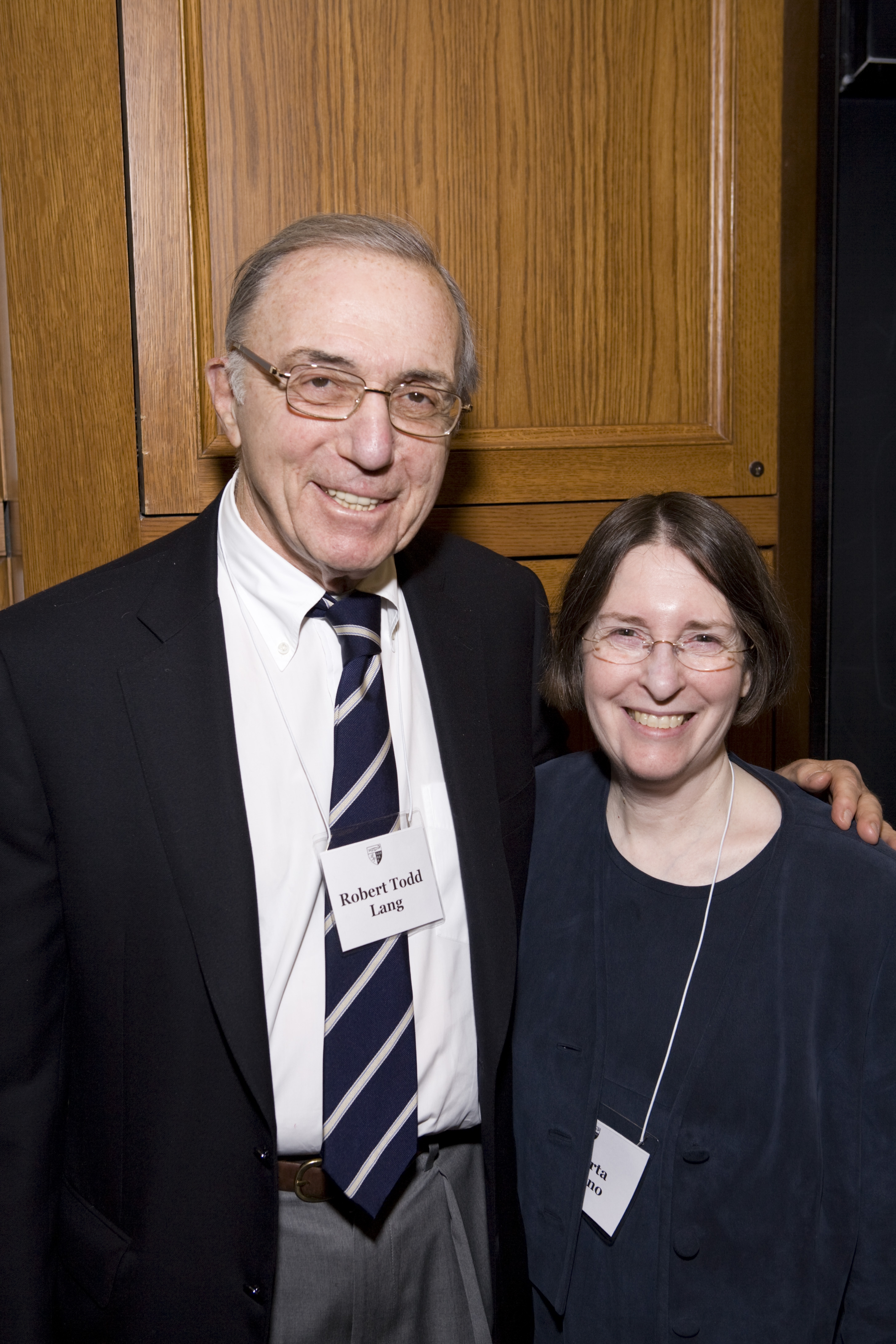 Robert Todd Lang '47 and YLS Prof. and Center Dir. Roberta Romano '80